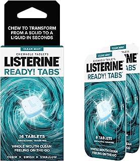 Listerine Ready! Tabs 可咀嚼片,清爽薄荷味,革命性4小时清新口气片,无糖和酒精,16支1支