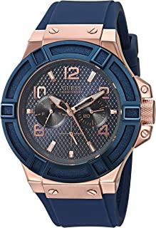 GUESS 男士不锈钢硅胶休闲手表,颜色:玫瑰金色/刚蓝色(型号:U0247G3)