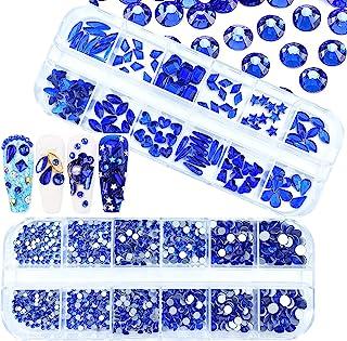 1620 件蓝色*水钻水晶水钻圆形珠平背玻璃宝石多种形状尺寸*饰适用于*DIY工艺品服装鞋饰品