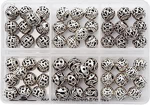 BRCbeads *品质藏银垫珠饰珠宝制作变体形状和尺寸 Mix Round Hollow Beads Lot#1 8mm 43216-92587
