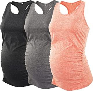 Ecavus 3 件装女式孕妇背心无缝工字背心锻炼运动瑜伽上衣孕妇 T 恤