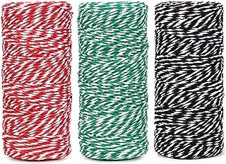 棉质烘焙绳索线 328 英尺 100 米,适用于烘焙、工艺品和圣诞节假日包装绳(红色/*/黑色)