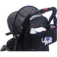 Amelitory 婴儿车整理袋防水尿布袋小推车配件包带可拆卸拉链钱包,悬挂储物袋适合所有婴儿车户外必需品 黑色 均码