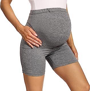 V VOCNI 孕妇打底裤瑜伽裤*板 3D 切割拼色高腰25 英寸(约 63.5 厘米)锻炼跑步孕妇紧身裤 5 英寸灰色口袋平衡接缝 Small