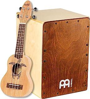 Meinl Percussion Snare Cajon Box Drum with Ukulele Jam Bundle - Keiki Sopranino 由 Ortega Guitar 提供 - 两年保修,JC50K1