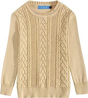 SSLR 大男孩冬季圆领罗纹针织套头毛衣