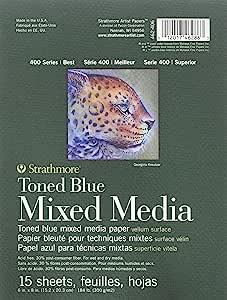 "Strathmore 400 系列 Toned 褐色混合介质垫,胶水绑定,15 张 钢蓝色 18""x24"" 462-406"