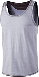 VANCOOG 男式经典运动针织背心无袖休闲锻炼 T 恤