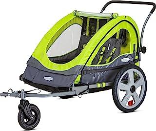 Instep Quick-N-EZ 双拖车后侧自行车拖车,适用于幼儿、儿童,转换为婴儿车,慢跑,2 合 1 遮篷,通用自行车耦合器,折叠框架,多色