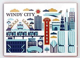 芝加哥伊利诺伊州 Windy City 现代艺术磁贴