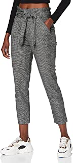 VERO MODA 女士 VMEVA HR 宽松纸袋 Amy Pant NOOS 裤,黑色/格子:犬牙花纹灰色/白色,L/30