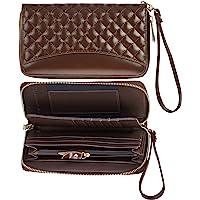 女式真皮 RFID 保护防扫描手机拉链钱包带手包