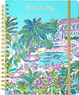 Lilly Pulitzer Jumbo 2020-2021 年 8 月 2021 年 8 月 - 2021 年 12 月 精装日历 17 个月 精装日历 带笔记/地址页、贴纸、口袋、层压隔板 Island Hopping Toile X-Large