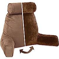 Husband 枕头 - 大阅读和床枕 带扶手 - 坐高高度 - 优质磨毛*泡沫,可拆卸颈枕,枕套和拉链,可调节倾斜