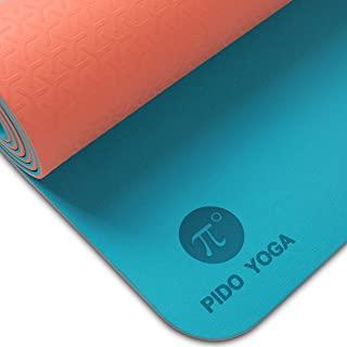 Pido 瑜伽垫 - 1/4 和 1/3 英寸(约 0.6 和 1.3 厘米)超厚防滑瑜伽垫 适用于女士和男士环保 TPE 健身锻炼垫 带手提带 适用于瑜伽、普拉提