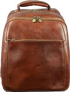 全粒面皮革背包 帆布背包 书包 棕色中号 中性 - 耐时性