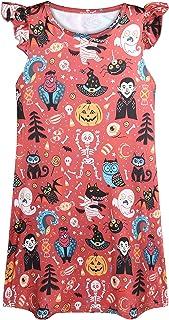 Neko-Baby 女童睡衣,夏季睡衣,飘袖睡衣,可爱印花柔软睡衣睡衣 5-12 岁 吸血鬼红 Age 11-12Y