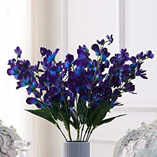 Carlita's Blooms15 件 Galaxy Orchid Stems 人造紫色蓝色兰花茎绿松石兰花岛兰花丝花面料花卉婚礼装饰