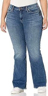 Silver Jeans Co. 女士加大码 Suki 曲线修身中腰喇叭牛仔裤