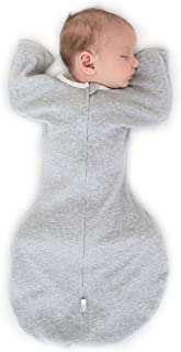 SwaddleDesigns过渡型襁褓袋,带臂长半袖和连指袖口,麻灰色,中号,3-6个月,14-20磅(约6.4-9.5公斤)(父母选择*得主)