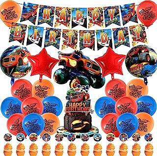37 件 Blaze and the Monster Machine 生日派对装饰,儿童派对用品套装,带 1 个生日快乐横幅花环,1 件大生日插入蛋糕卡,12 个纸杯蛋糕装饰品,5 个铝箔气球,18 个气球用于派对装饰