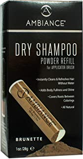 Ambiance 干式洗发水(黑胶) - 3 合 1 清洁剂、盖子和遮瑕膏。 Absorbs 油来更新*,提升身体光泽。 颜色之间覆盖根和灰色。 遮瑕细腻的* Refill Only