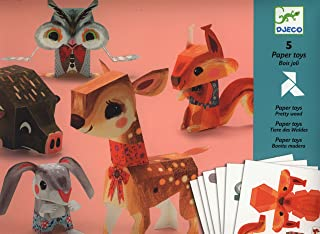 Djeco/Folded Paper Toy Kit, Pretty Woodland Animals