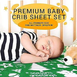 圣诞婴儿床床单 2 件套,适合婴幼儿   * 天然合身针织棉防*