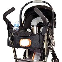 Angel Baby 高级婴儿车收纳袋,带杯架(双隔热),方便拿取的湿巾口袋,大号储物配件包适合妈妈。