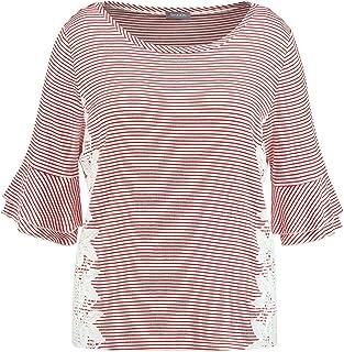 Samoon 女士 T 恤短袖圆领条纹衬衫带花边柔软,有弹性条纹宽松圆领