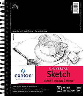 Canson Artist Series Universal Paper Sketch Pad, for Pencil and Charcoal, Micro-Perforated, Side Wire Bound, 65 Pound, 9 x...