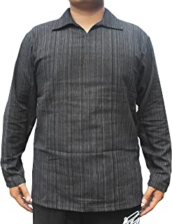Raan Pah Muang 浅色条纹棉质长袖大口袋领衬衫加大码