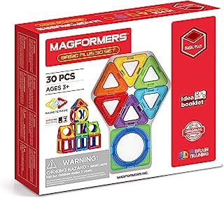 Magformers 基本款 Plus 30 件套,带圆圈。 获*正品磁力建筑玩具。 用于学校学习几何图形和数学。 配有始终连接的旋转磁铁。