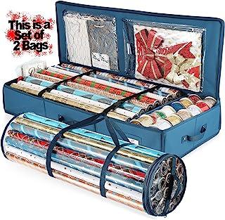 Hearth & Harbor 2 件套礼品包装纸收纳盒 40 英寸(约 101.6 厘米)长和节日配件存储和防水包装储物袋 - 超薄的床下包装纸存储容器