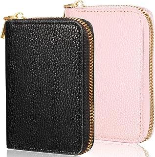 2 件女式信用卡夹钱包拉链皮革卡包 RFID 屏蔽卡包 带 26 个卡槽(黑色、粉色)