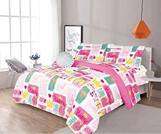 LinenTopia 8 件套全尺寸女孩儿童青少年棉被套装床上用品、枕套、床单套件和装饰玩具枕、儿童棉被床上用品带床单、马匹、粉色黄色(F,8 件,马公主)