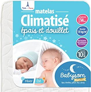Babysom 婴儿床垫 | 夏季/冬季儿童床垫 60 x 120 厘米 – 透气 – 通风 – 冷海绵 – 高度14厘米 60 x 120 cm