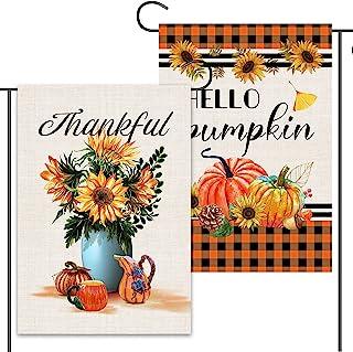 2 件快乐秋季花园旗 30.48 x 45.72 厘米双面,粗麻布向日葵花瓶和水牛格子 Hello 南瓜花园旗帜,*设计秋季户外装饰农舍庭院标志