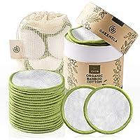 Greenzla 可重复使用卸妆垫(20 片装)带可洗洗衣袋和圆形盒子用于存放| 100% *竹棉适用于所有肤质| 环保…