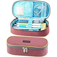 Homcutbe 铅笔盒大容量防水铅笔袋牛津化妆笔盒耐用文具袋笔盒男女均适用 浅红色
