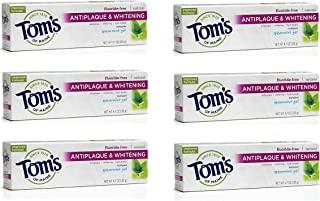 Tom's of Maine Antiplaque Plus Whitening Gel, Spearmint, 4.7 Ounce (Pack of 6)