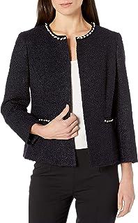 Kasper 女士珠宝领粗花呢夹克,带领口和口袋