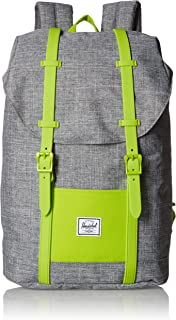 Herschel 儿童 Retreat 背包 Raven Crosshatch/Lime Green 青少年