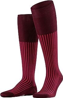 FALKE 男式牛津条纹及膝袜 - 棉质,多种颜色,英国尺码 5.5-12.5(欧码 39-48),1 双 - 长款,薄,优雅,多彩,丝光棉