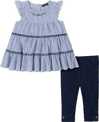 Calvin Klein 女童 2件套 上衣紧身裤套装