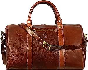 棕色全粒面皮革小手提包,健身袋,周末背包,男女皆宜 - 耐时化