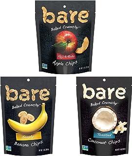 Bare 天然水果脆片,每份含苹果1.4盎司,香蕉1.3盎司,椰子1.4盎司,多种包装,无麸质+烘焙,(6个)