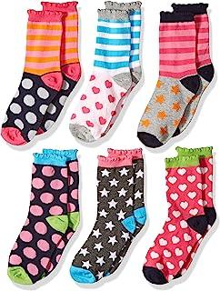 Jefferies Socks 女童圓點/心形圖案/條紋時尚船襪 6 雙裝