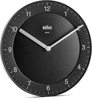 BRAUN 博朗 经典石英挂钟,静音石英机芯,易于读取,黑色直径20厘米,型号BC06B,一种尺寸