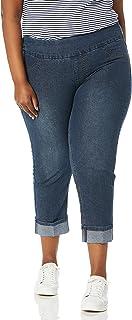 SLIM-SATION 女式加大码宽带套穿男友款七分裤